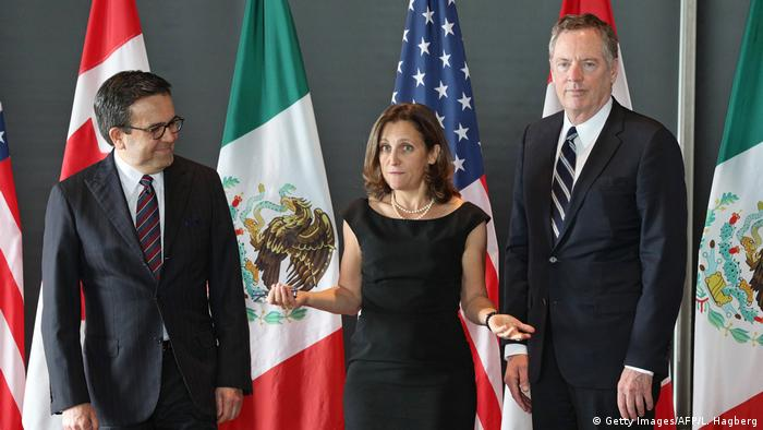 NAFTA negotiators Ildefonso Villarreal, Chrystia Freeland of Canada and Robert Lighthizer of the US