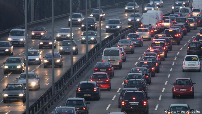 Traffic jam on the A100 ring road around Berlin, Germany