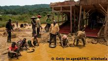 A group of Galamseyers, illegal gold panners, work in Kibi area on April 10, 2017. These groups can range from 50 men to small ones of 5. Most of the work is done by hand or simple machinery as excavators and filters made of old carpets. / AFP PHOTO / CRISTINA ALDEHUELA (Photo credit should read CRISTINA ALDEHUELA/AFP/Getty Images)