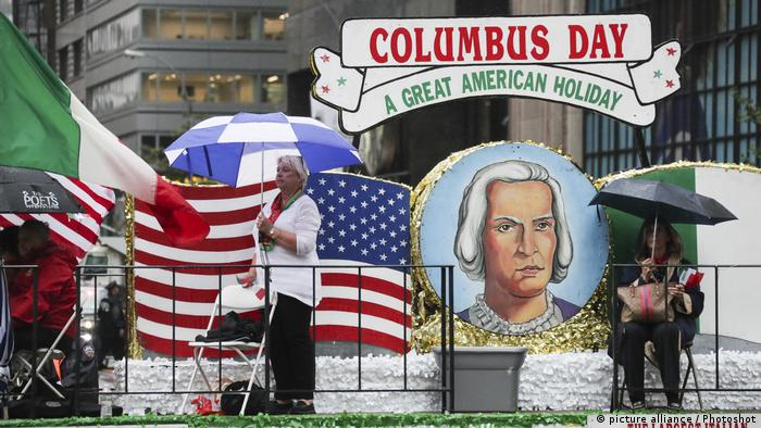 people attend the Columbus Day parade