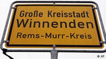 Deutschland Amoklauf Winnenden Ortsschild