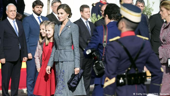 Spain's Queen Letizia (R), Spain's princess Leonor (C) and princess Sofia arrive to attend the Spanish National Day military parade in Madrid
