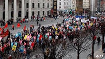 Over a hundred thousand protesters on the streets of Dublin, 2009