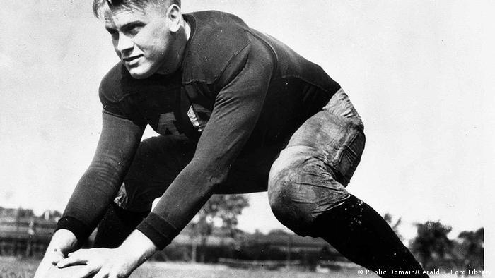 US Präsident Gerald Ford als Football-Spieler an der Universität von Michigan im Jahr 1933 (Public Domain/Gerald R. Ford Library)
