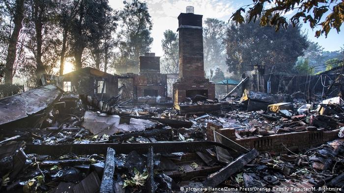 A home destroyed by wildfire in Orange County