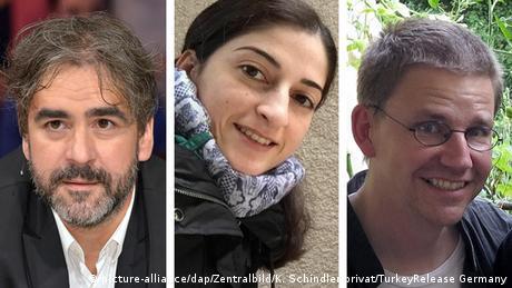 Picture combination of Deniz Yücel, Mesale Tolu, and Peter Steudtner (picture-alliance/dap/Zentralbild/K. Schindler/privat/TurkeyRelease Germany)