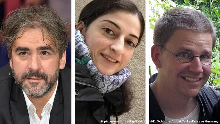 Picture combination of Deniz Yücel, Mesale Tolu, and Peter Steudtner (picture-alliance/dap/Zentralbild/K. Schindler/privat/TurkeyRelease Germany)