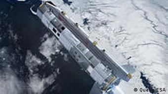 Hier fliegt GOCE über Polareismassen...... (Trickdarstellung) (Photo: ESA)