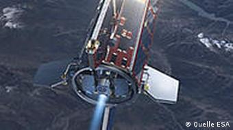 GOCE überfliegt ein Gebirge (Trickdarstellung) (Photo: ESA)