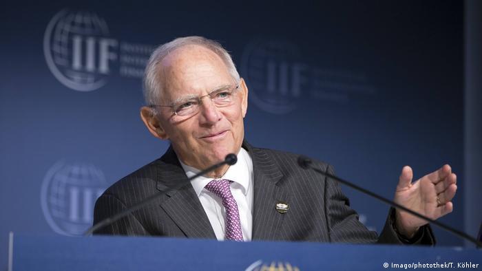 Wolfgang Schäuble speaks in Washington