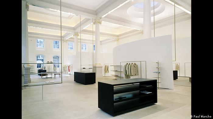 Clothes and furniture on display at the Jil Sander exhibition in Frankfurt (Paul Warcho)