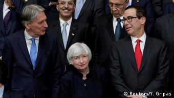 Hammond, Yellen und Mnuchin at the IMF conference in Washigton DC