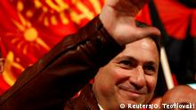Leader of the opposition party VMRO-DPMNE and former Prime Minister Nikola Gruevski greets suporters during pre-election rally in Veles, Macedonia October 12, 2017.REUTERS/Ognen Teofilovski