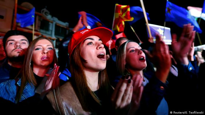 Mazedonien - Wahlkampf: Unterstützer der Social Democratic Union of Macedonia (SDSM)