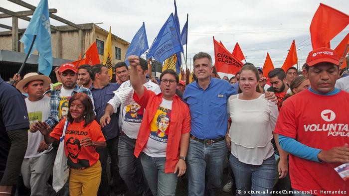 Freddy Guevara pumps his right fist in the air as he leads an anti-government protest in October.