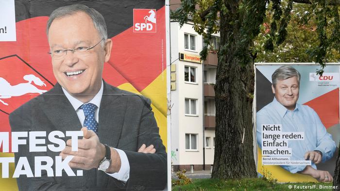 Niedersachsen Landtagswahlen Wahlplakate SPD und CDU