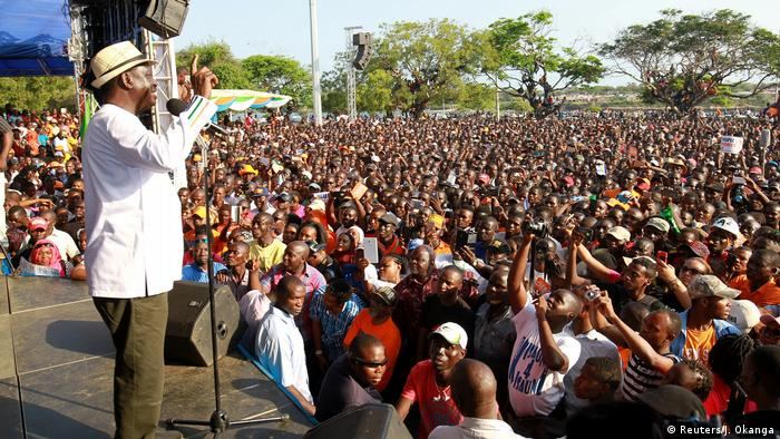 Odinga addresses thousands of supporters at a rally in Mombasa.