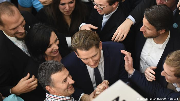 Austrian ÖVP politician Sebastian Kurz with supporters (picture-alliance/AA/O. Marques )