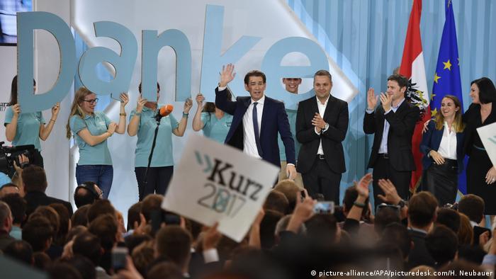 Sebastian Kurz at party rally
