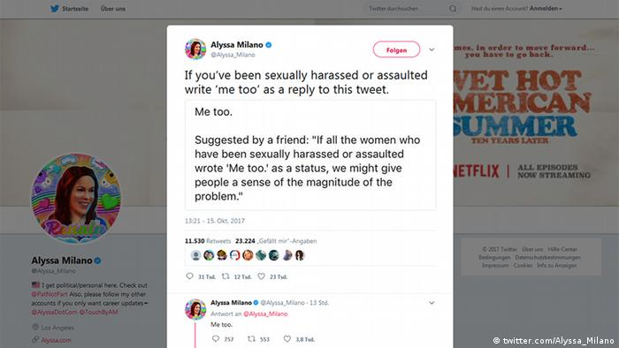 Alyssa Milano: If you've been sexually harassed or assaulted write 'me too' as a reply to this tweet. - Screenshot twitter.com/Alyssa_Milano (twitter.com/Alyssa_Milano)