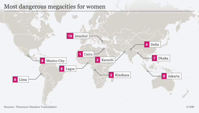 Map showing most dangerous megacities for women ENG