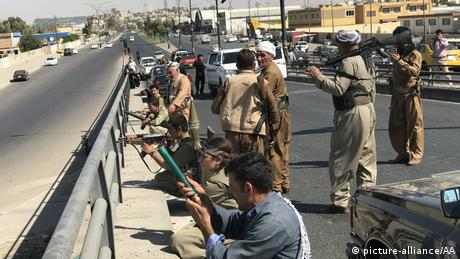 PKK fighters on the streets of Kirkuk