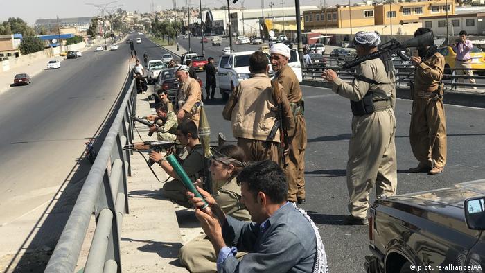 PKK fighters on the streets of Kirkuk