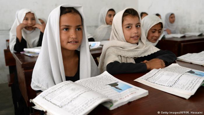 Schoolgirls sitting in a classroom in Kandahar