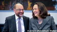 Jetzt geht's los: Schulz und Nahles in der Fraktion