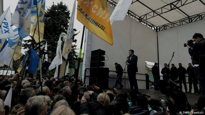 Міхеіл Саакашвілі під час виступу на мітингу 17 жовтня під Верховною Радою