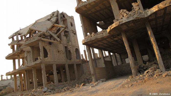 Derelict buildings in downtown Kobani