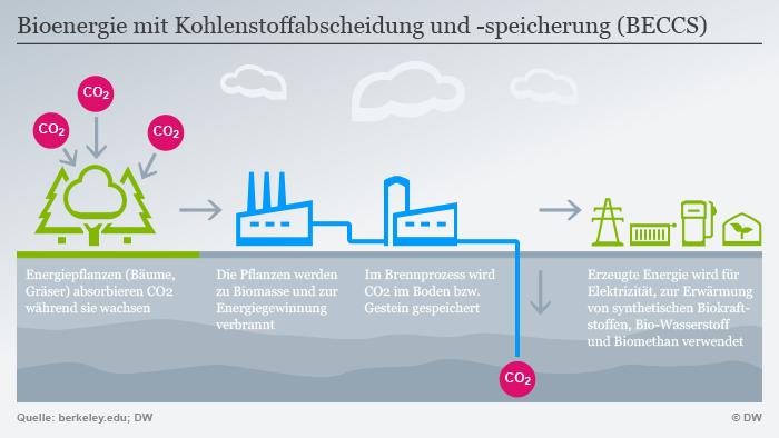 Infografik Bioenergie mit Kohlenstoffabscheidung und -speicherung (BECCS)