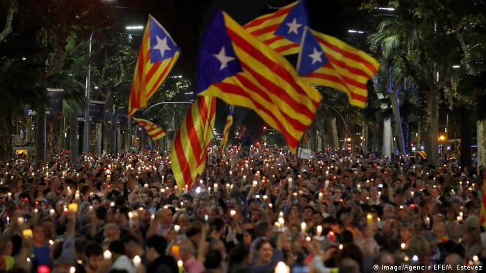 Spanien Barcelona Demonstration gegen Inhaftierung (Imago/Agencia EFE/A. Estevez)
