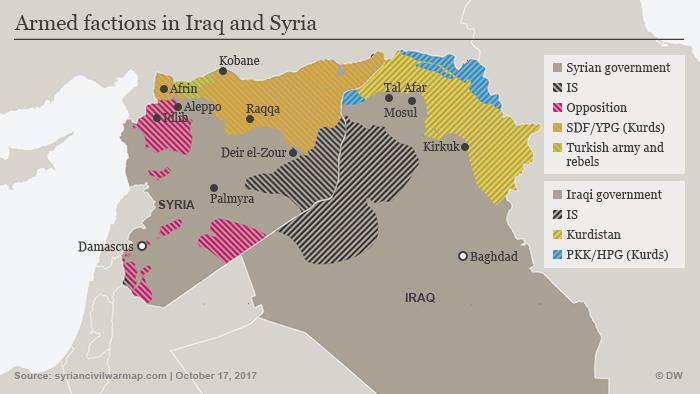Infografik Karte Streitkräfte Syrien Irak ENG