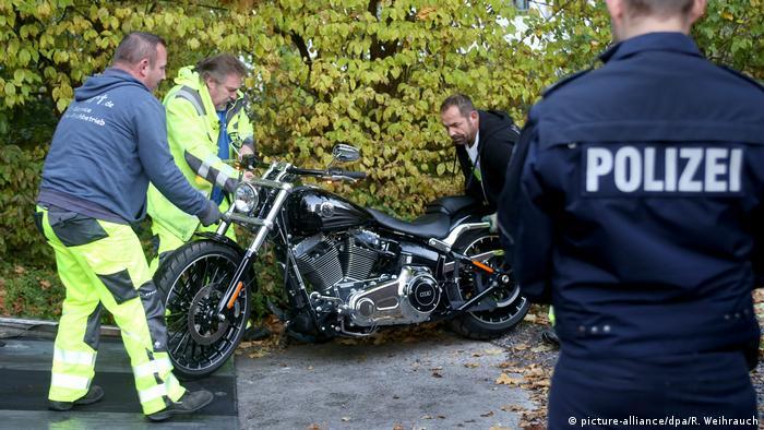 German police confiscate a Hells Angels member's motorcycle in Erkrath