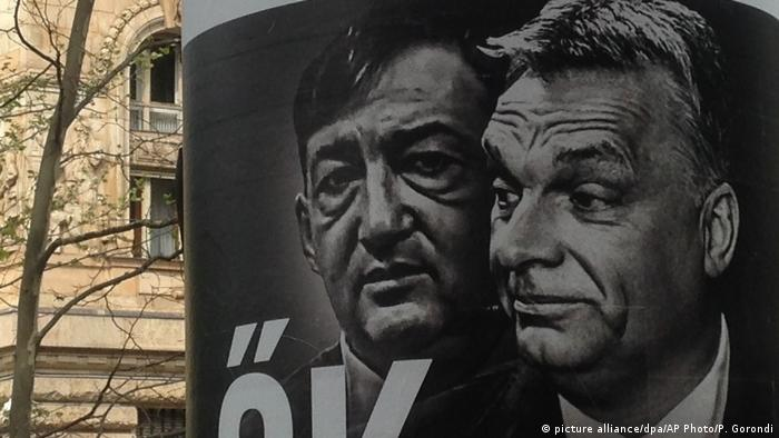 A campaign poster shows Viktor Orban and Lorinc Meszaros