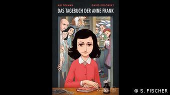 Das Buchcover vom Tagebuch der Anne Frank - Graphic Diary zeigt eine gezeichnete Anne Frank, die in einem roten Kleid an einem Tisch sitzt und eine Hand auf ein Buch legt
