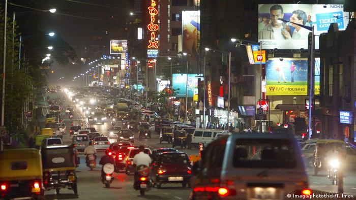 A night street scene of Bangalore