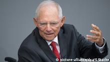 Bundesfinanzministerin Wolfgang Schäuble (CDU), aufgenommen am 05.09.2017 in Berlin während des letzten offiziellen Sitzungstages des Bundestages vor der Bundestagswahl. Foto: Soeren Stache/dpa   Verwendung weltweit