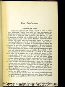 Titelblatt E.T.A. Hoffmann: Der Sandmann (Germanistisches Institut der Universität Köln)