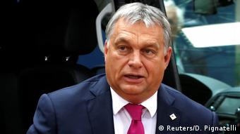 Hungarian Prime Minister Viktor Orban at the EU summit meeting in Brussels