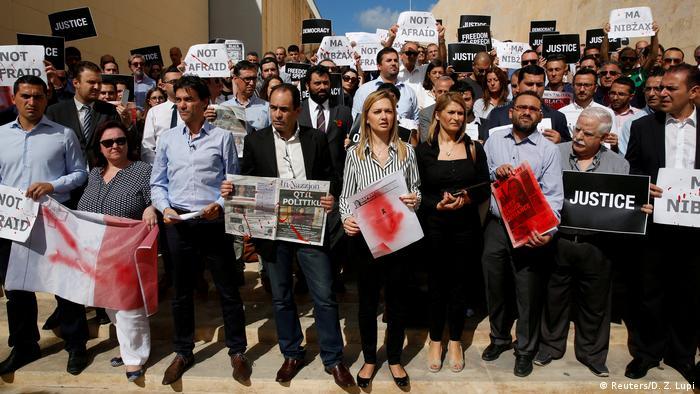 Malta Valetta Demonstration von Journalisten nach Mord an Journalistin Daphne Caruana Galizia