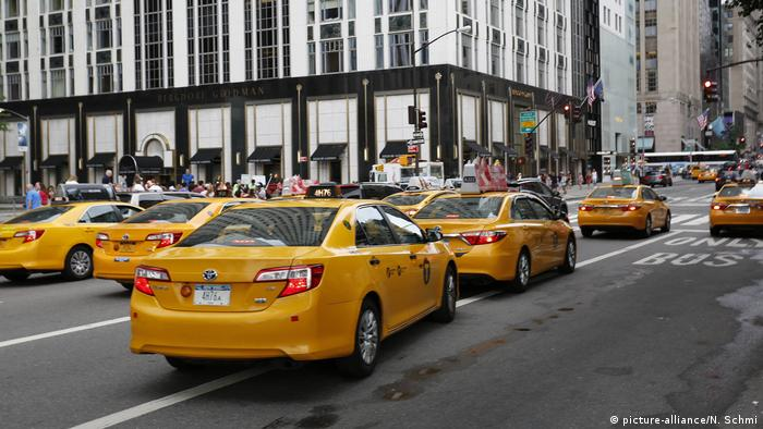Yellow taxis on 5th Avenue in Manhattan