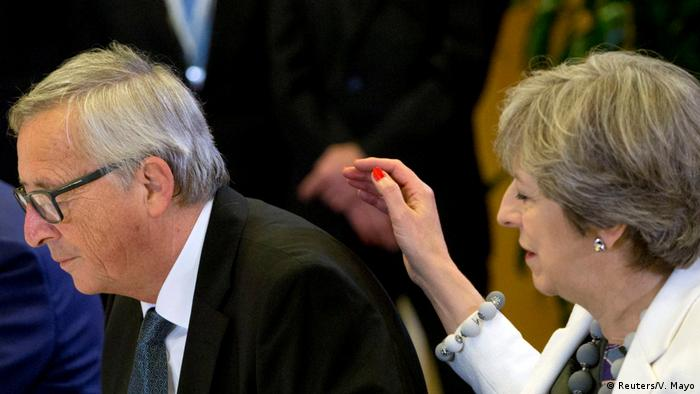 Jean-Claude Juncker și Theresa May la Bruxelles