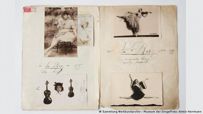 "A photo album showing Lu Berg, known as ""the dancing violin"" (Sammlung Werkbundarchiv – Museum der Dinge/Foto: Armin Herrmann)"