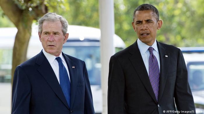 Ehemalige US-Präsidenten Barack Obama und George W. Bush (AFP/Getty Images/S. Loeb)