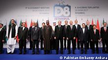 Title: D-8 Summit in Ankara Picture sent by: Shakoor Raheem, DW Correspondent in Turkey Picture provided by: Pakistan Embassy Ankara Publishing Rights: Pakistani Embassy allowed to publish it.