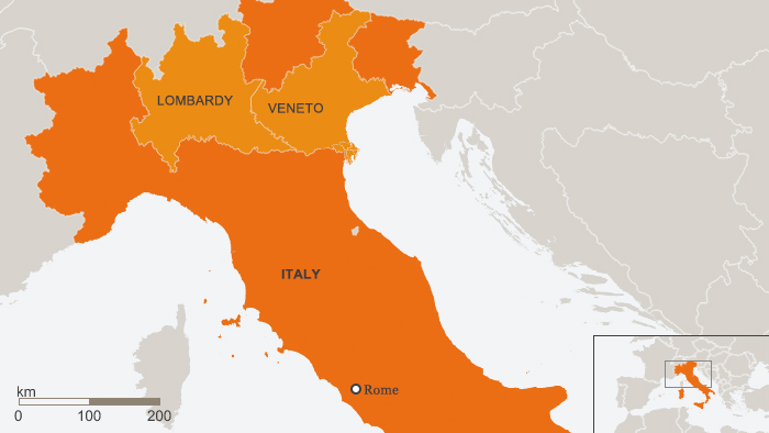 Map of Lombardy and Veneto regions in Italy