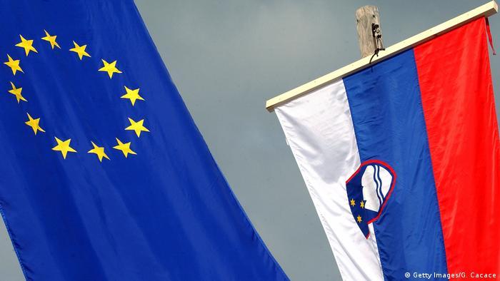 Флаги ЕС и Словении