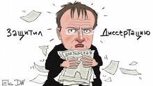Thema: Russischer Kultusminister, dem Plagiat vorgeworfen wurde, darf erstmal sein Doktor-Titel behalten. Stichworte: Sergey Elkin, Russland, Vladimir Medinski, Wladimir Medinsky, Plagiat-Vorwürfe Jahr/Ort: Moskau, 20.10.2017